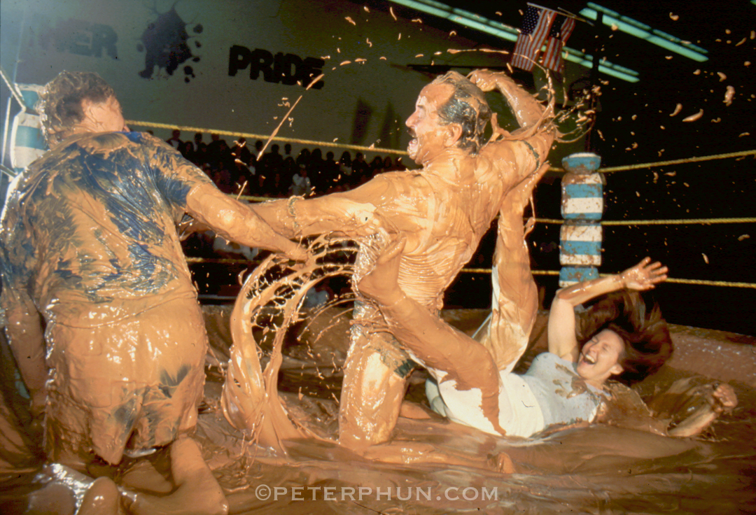 Chocolate pudding wrestlers