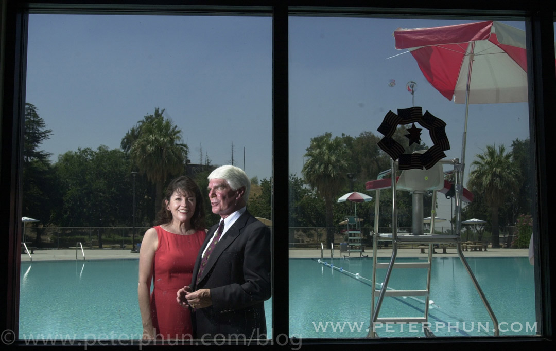 Congressman Jerry Lewis of Redlands with his wife Arlene at the pool opening in the city of San Bernardino