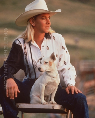 Cowgirl with her dog (original on Fujichrome 100)