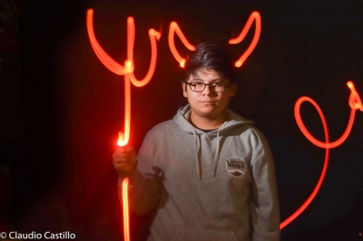 Claudio Castillo captures a classmate as the devil with light painting